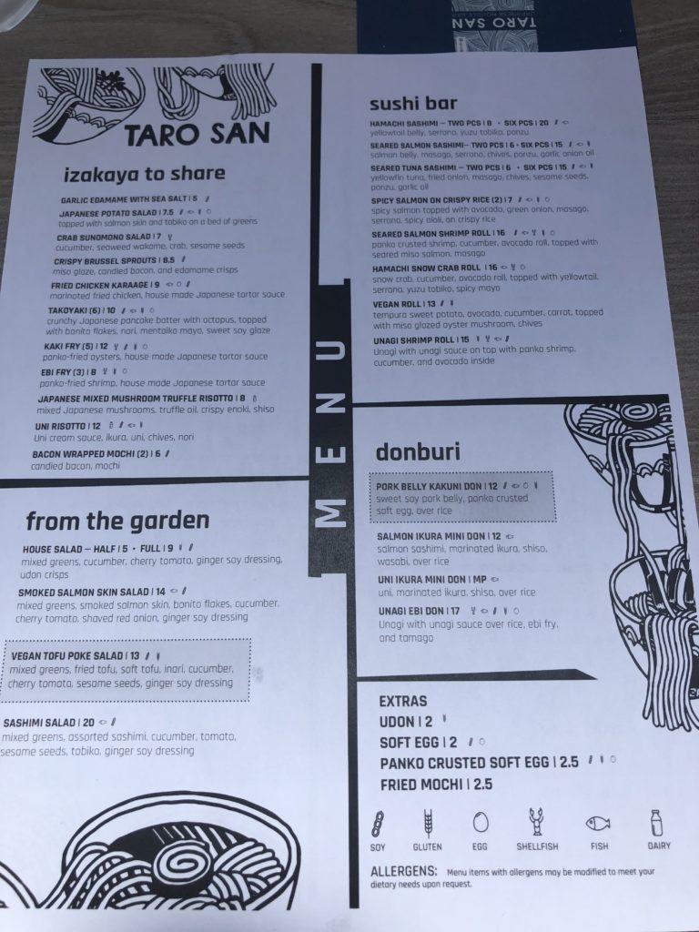 TARO SANのメニュー