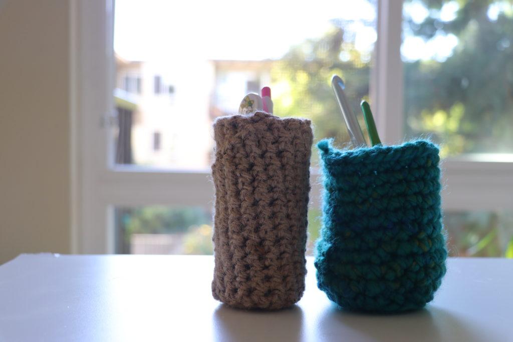麻紐、鍵編み