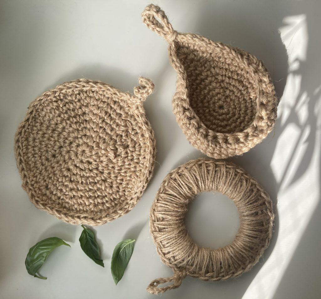 麻紐、かぎ編み、鍋敷き、サステイナブル、植物ハンギング