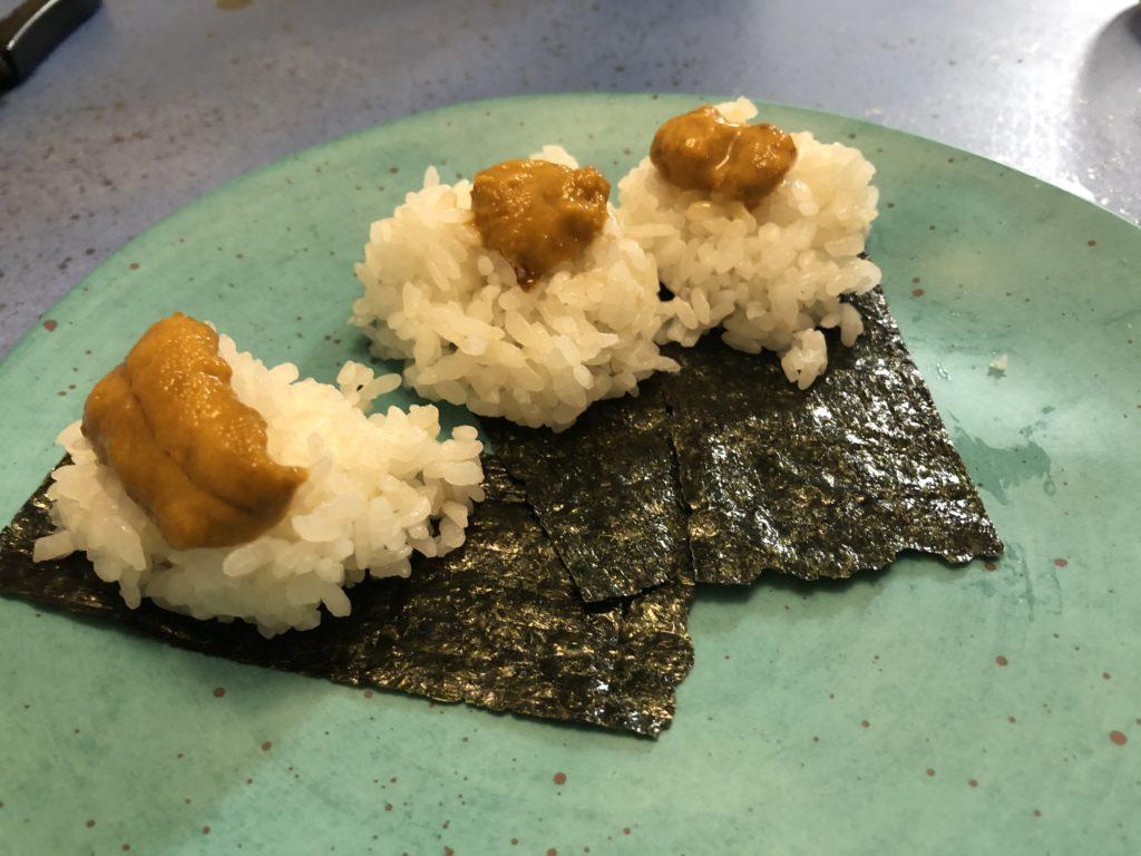 アメリカ駐在、居酒屋風、誕生日ディナー、和食、ウニ巻き寿司、大江海苔