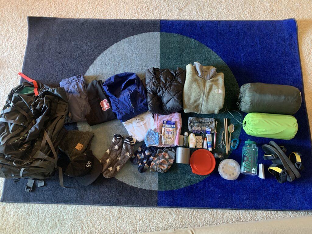 バックパンキング、キャンプ、バッグの中身、バックパック、キャンプ用品